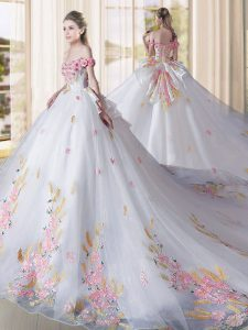 Super White Lace Up Off The Shoulder Appliques Quinceanera Dresses Tulle Sleeveless Cathedral Train