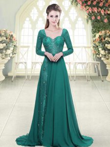 Long Sleeves Sweep Train Backless Beading and Lace Prom Dresses