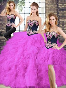 Fuchsia Lace Up Sweetheart Beading and Embroidery Vestidos de Quinceanera Tulle Sleeveless
