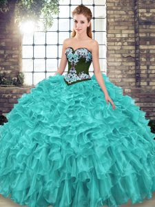 Lace Up Sweet 16 Dress Turquoise for Military Ball and Sweet 16 and Quinceanera with Embroidery and Ruffles Sweep Train