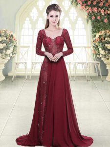 Dynamic Burgundy Prom Gown Prom and Party and Military Ball with Beading and Appliques Sweetheart Long Sleeves Brush Train Zipper