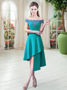 Fitting Teal Satin Zipper Prom Party Dress Sleeveless Asymmetrical Appliques