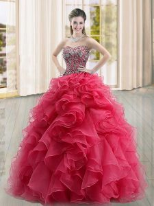 High Quality Floor Length Coral Red 15 Quinceanera Dress Sweetheart Sleeveless Lace Up