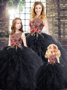Embroidery and Ruffles 15th Birthday Dress Black Zipper Sleeveless Floor Length