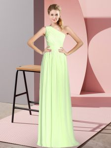 Popular Sleeveless Chiffon Floor Length Lace Up in Yellow Green with Ruching