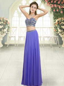 Smart Floor Length Lavender Evening Dress Chiffon Sleeveless Beading