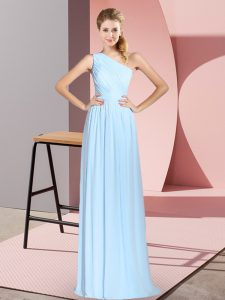 Blue Lace Up One Shoulder Ruching Dress for Prom Chiffon Sleeveless