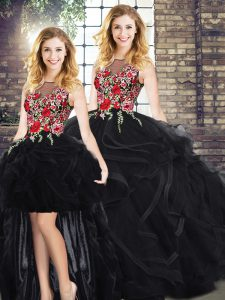 Black Scoop Zipper Embroidery and Ruffles 15th Birthday Dress Sleeveless