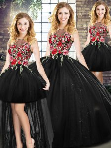 Edgy Black Zipper Scoop Sleeveless Floor Length Quinceanera Gowns Embroidery