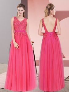 Hot Pink Empire Lace Dress for Prom Backless Tulle Sleeveless Floor Length