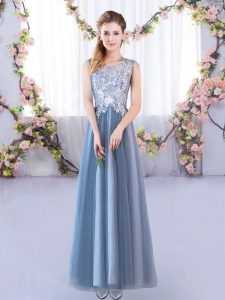 Blue A-line Lace Vestidos de Damas Lace Up Tulle Sleeveless Floor Length