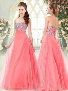 Watermelon Red Sleeveless Tulle Lace Up Dress for Prom for Prom and Party
