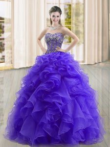 Captivating Purple Ball Gowns Organza Sweetheart Sleeveless Beading and Ruffles Floor Length Lace Up Sweet 16 Dresses