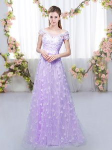 Tulle Off The Shoulder Cap Sleeves Lace Up Appliques Court Dresses for Sweet 16 in Lavender