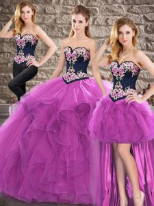 Best Tulle Sweetheart Sleeveless Lace Up Beading and Embroidery Quinceanera Dress in Purple