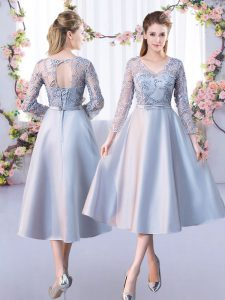 Silver A-line V-neck 3 4 Length Sleeve Satin Tea Length Lace Up Lace Quinceanera Court Dresses