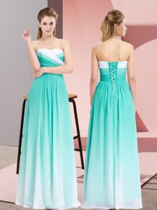 Turquoise Chiffon Lace Up Homecoming Dress Sleeveless Floor Length Ruching