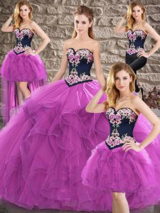 Exquisite Purple Tulle Lace Up Sweet 16 Dresses Sleeveless Floor Length Beading and Embroidery