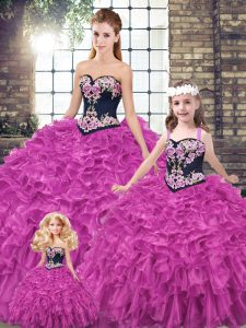 Fuchsia 15th Birthday Dress Organza Sleeveless Embroidery and Ruffles