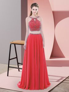Sweep Train Two Pieces Prom Evening Gown Red Straps Chiffon Sleeveless Backless