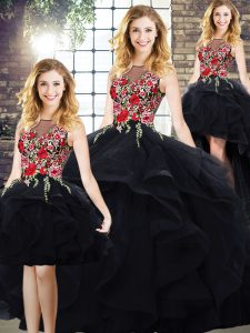 Floor Length Lace Up Quinceanera Gown Black for Sweet 16 and Quinceanera with Beading and Embroidery