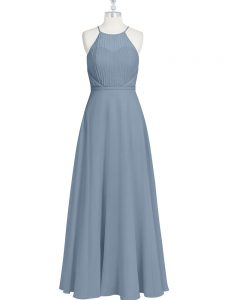 Grey Zipper Ruching and Pleated Sleeveless Floor Length
