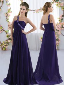 Custom Design Purple Damas Dress Prom and Party and Wedding Party with Beading One Shoulder Sleeveless Brush Train Lace Up