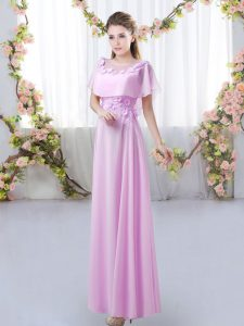 Beautiful Lilac Short Sleeves Floor Length Appliques Zipper Quinceanera Dama Dress