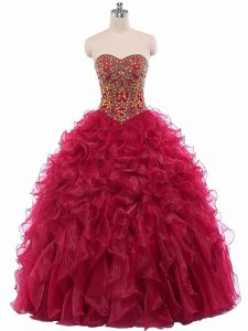 Beading and Ruffles Quince Ball Gowns Wine Red Lace Up Sleeveless Floor Length