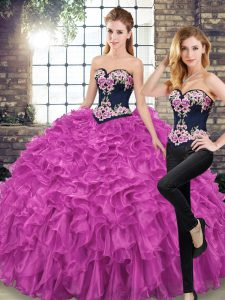 Clearance Fuchsia Ball Gowns Organza Sweetheart Sleeveless Embroidery and Ruffles Lace Up 15 Quinceanera Dress Sweep Train