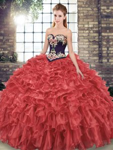 Sweet Red Sleeveless Embroidery and Ruffles Lace Up 15th Birthday Dress
