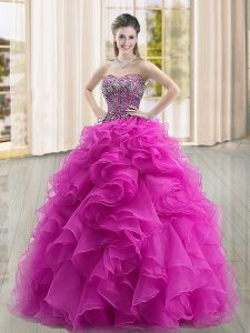 Sleeveless Organza Floor Length Lace Up Ball Gown Prom Dress in Fuchsia with Beading and Ruffles