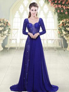 Sweetheart Long Sleeves Prom Dresses Sweep Train Beading and Lace Royal Blue Chiffon
