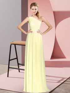 Yellow Chiffon Lace Up One Shoulder Sleeveless Floor Length Prom Dress Ruching