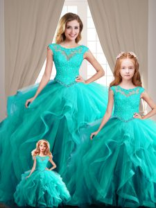 Glamorous Scoop Cap Sleeves Lace Up Quinceanera Dress Aqua Blue