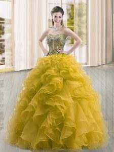Modest Gold Lace Up Sweetheart Beading and Ruffles Quinceanera Gown Organza Sleeveless