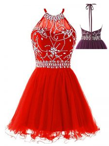 Red A-line Beading Backless Tulle Sleeveless Mini Length