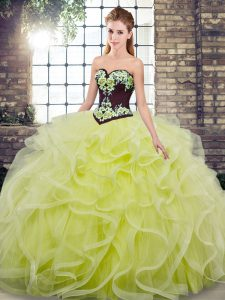 Pretty Sweetheart Sleeveless Quinceanera Dresses Sweep Train Embroidery and Ruffles Yellow Green Tulle
