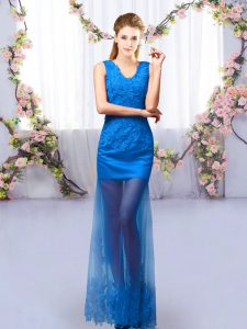 Wonderful Royal Blue Sleeveless Floor Length Lace Lace Up Quinceanera Court of Honor Dress
