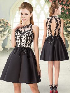 Black Sleeveless Beading and Appliques Mini Length Prom Party Dress