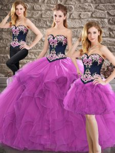Modern Purple Sweetheart Neckline Beading and Embroidery Vestidos de Quinceanera Sleeveless Lace Up