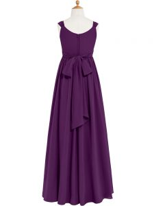 Chic Eggplant Purple Sleeveless Chiffon Zipper Prom Party Dress for Prom and Party and Military Ball