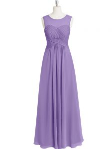 Romantic Sleeveless Chiffon Floor Length Zipper Prom Evening Gown in Lavender with Ruching