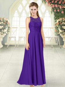 Latest Purple Chiffon Backless Scoop Sleeveless Floor Length Prom Dresses Lace