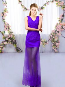 Comfortable Purple Court Dresses for Sweet 16 Prom and Party with Lace V-neck Sleeveless Lace Up