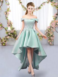 Top Selling Sleeveless High Low Appliques Lace Up Quinceanera Court Dresses with Apple Green