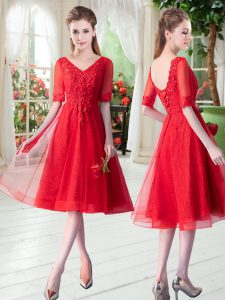 Knee Length Red Prom Evening Gown Tulle Half Sleeves Beading and Appliques