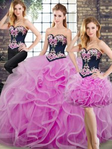 Ball Gowns Sleeveless Lilac Sweet 16 Quinceanera Dress Sweep Train Lace Up