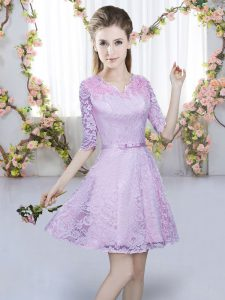 Perfect Mini Length Lavender Dama Dress for Quinceanera V-neck Half Sleeves Zipper