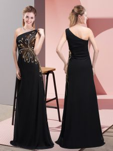 Floor Length Black Prom Evening Gown One Shoulder Sleeveless Side Zipper